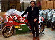 Seth leans against Hailwood's racer at the factory